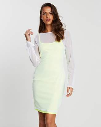 Missguided Slip Dress with Sheer Overlay