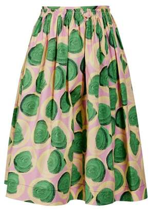 Marni Clematis Print Poplin Skirt - Womens - Pink Multi