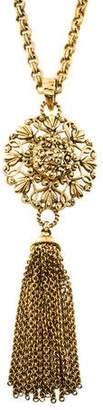 Jose & Maria Barrera Crystal Tassel Pendant Necklace