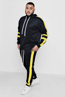 boohoo Big And Tall MAN Moto Tricot Panel Tracksuit