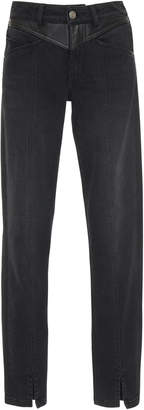 Givenchy Leather-Panel High-Rise Skinny Stretch-Denim Jeans