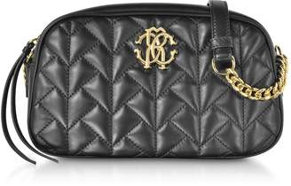 Roberto Cavalli Black Quilted Leather Crossbody Bag
