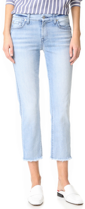 7 For All Mankind Ankle Straight Jeans with Released Hem $199 thestylecure.com