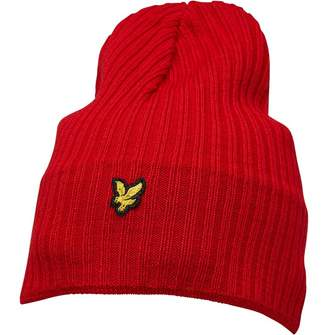 78598ca2117 Lyle   Scott Vintage Mens Knitted Ribbed Beanie Tomato Red