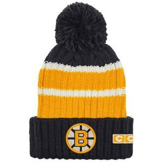 Reebok Boston Bruins CCM Team Stripe Cuffed Pom Toque