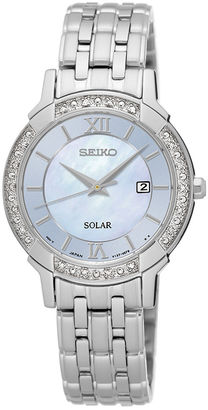Seiko Womens Crystal-Accent Mother-of-Pearl Solar Bracelet Watch SUT277 $425 thestylecure.com