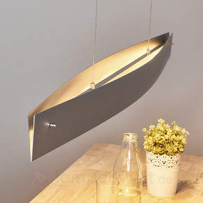 Alufarbene LED-Hängeleuchte Malu - made in Germany