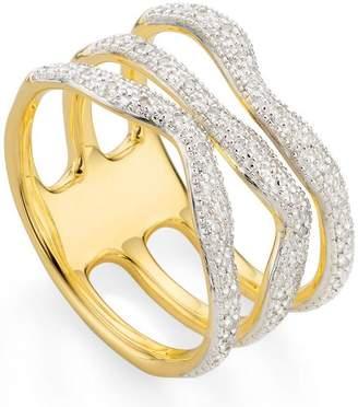 Monica Vinader Gold Vermeil Riva Wave Triple Band Diamond Ring