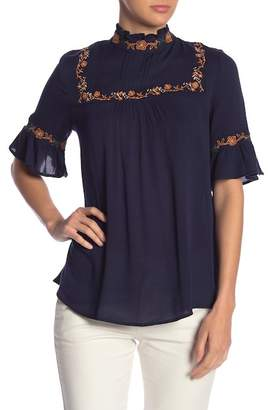 Blu Pepper High Neck Embroidered Top