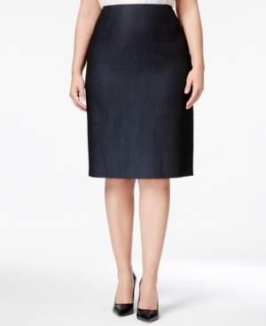 Anne Klein Plus Size Denim Twill Pencil Skirt