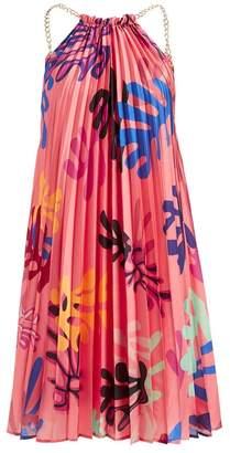 Wolf & Badger Mina Coral Printed Pleat Dress