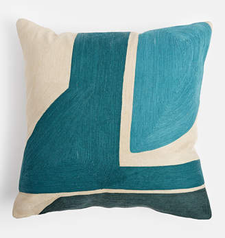 Rejuvenation Parade.Pimlico.Pearl Teal & Blue Outdoor Pillow