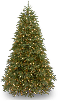 """National Tree Company National Tree 7 .5' """"Feel-Real"""" Jersey Fraser Medium Fir Hinged Tree with 1000 Warm White Led Lights"""