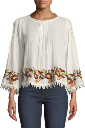 Velvet by Graham & Spencer Embroidered Scoop-Neck Cotton Blouse