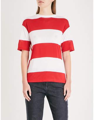 Diane von Furstenberg Striped-pattern asymmetric cotton T-shirt