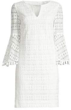 Trina Turk Women's Bell Sleeve Mesh Sheath Dress - White Wash - Size 0