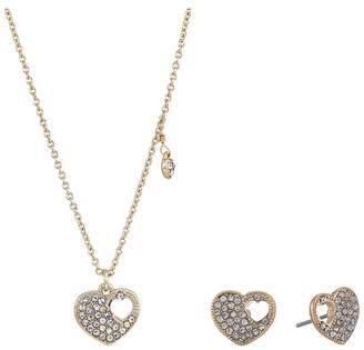 Betsey Johnson Blue by Crystal and Gold Tone Heart Pendant Necklace with Matching Heart Stud Earrings, Includes Set of Neckalce and ...