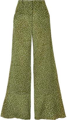 Adriana Degreas - Millie Punti Polka-dot Silk Crepe De Chine Wide-leg Pants - Green