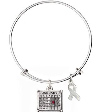 Silvertone Personalized Calendar & Awareness Ribbon Bracelet