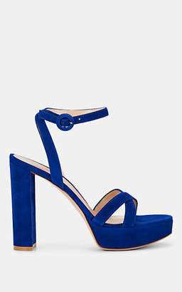 Gianvito Rossi Women's Poppy Suede Platform Sandals - Royal Blue
