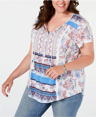 Style&Co. Style & Co Plus Size Printed Crochet-Trim Top