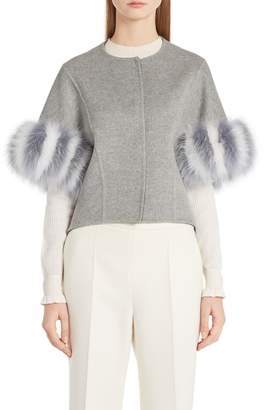 Fendi Cashmere & Genuine Fox Fur Jacket