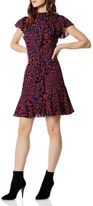 Karen Millen Ruffled Leopard Print Dress