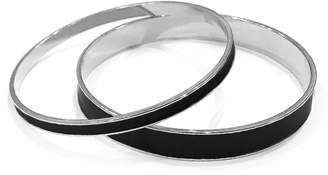 Tuleste Black & Silver Enamel Channel Bangle (Set of 2)
