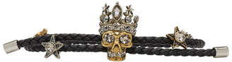 Alexander McQueen Black King Skull Friendship Bracelet