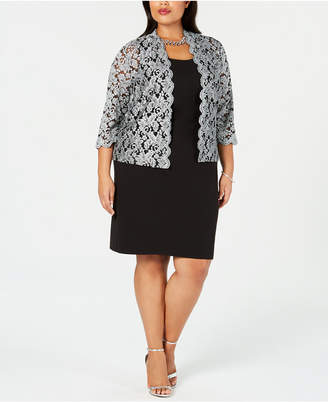 Jessica Howard Plus Size Sheath Dress & Glitter Jacket