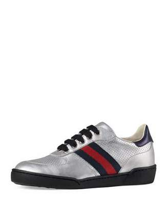 Gucci Metallic Leather Sneaker w/ Perforated Detail, Sizes 10T-2Y $350 thestylecure.com