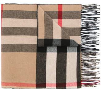 Burberry Check-lined Wool Cashmere Wrap
