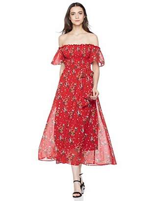 Elise Bloom Women's Boho Boat Neck Floral Prints Vacation Dress Long Dress