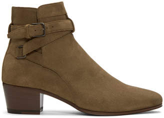 Saint Laurent Brown Suede Blake Jodhpur Boots