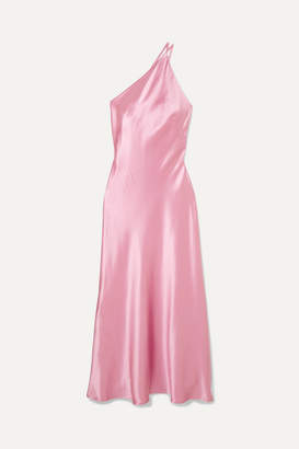 Galvan Roxy One-shoulder Silk-satin Maxi Dress - Pink