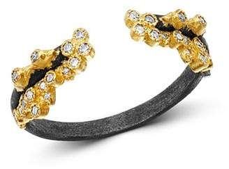 Armenta 18K Yellow Gold & Blackened Sterling Silver Old World Champagne Diamond Stacking Ring