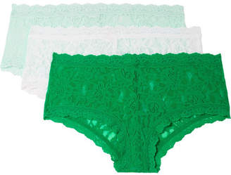 Hanky Panky Signature Set Of Three Stretch-lace Boy Shorts - Green