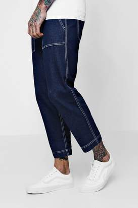 boohoo Loose Fit Skater Jeans With Contrast Topstitch
