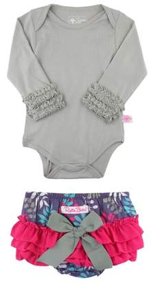 RuffleButts Falling For You Bodysuit & Ruffle Bloomers Set