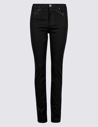 Marks and Spencer Embellished Roma Rise Slim Leg Jeans