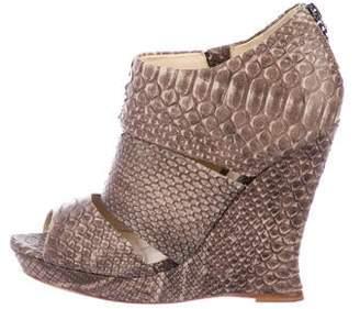 Alexandre Birman Snakeskin Peep-Toe Ankle Boots