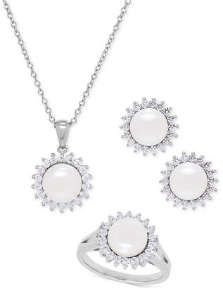 Macy's Cultured Freshwater Pearl (8mm) and Swarovski Cubic Zirconia Jewelry Set in Sterling Silver