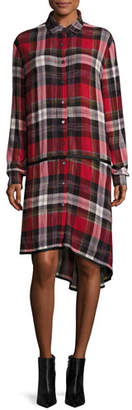 Public School Ilha Plaid Button-Front Drop-Waist Shirtdress