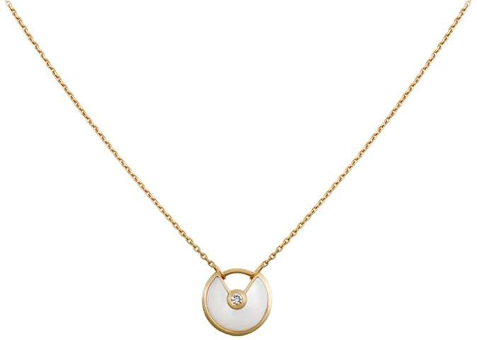Extra Small Yellow Gold and Mother-of-Pearl Amulette de Necklace