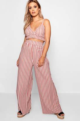 boohoo Plus Stripe Bralet + Trouser Co-ord