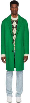 Ami Alexandre Mattiussi Green Wool Double Coat