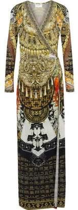 Camilla Dynasty Days Wrap-Effect Embellished Stretch-Jersey Maxi Dress