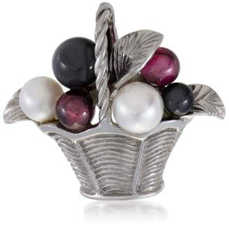 Van Cleef & Arpels 18K White Gold Pearl Tourmaline and Onyx Basket Pin