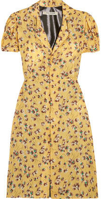 Junya Watanabe - Floral-print Chiffon And Lamé Dress - Pastel yellow $815 thestylecure.com