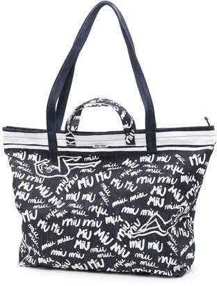 Miu Miu Printed Denim Shopping Bag